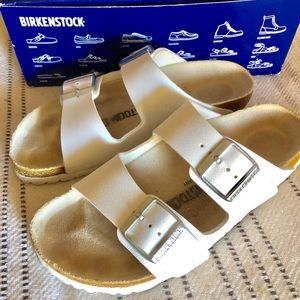 White Birkenstock Arizona Sandals size 39